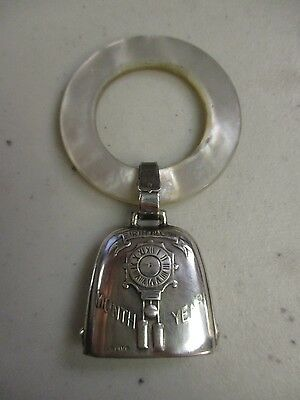 Vintage  Sterling Silver And Mother Of Pearl Baby Teething Rattle