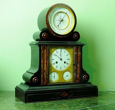 Very Rare French Calendar Barometer Mantel Table Clock