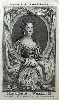 QUEEN MARY OF ENGLAND  Original  Antique Portrait Print 1761
