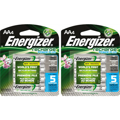 2 Pack Energizer Recharge AA Rechargeable Batteries 2300mAh 4 Batteries Each