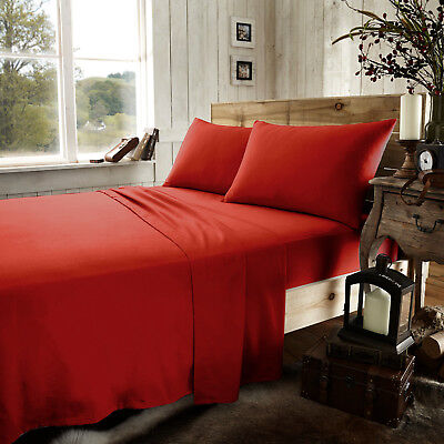 Red Double Brushed Cotton Soft Thermal Flannelette Flat Sheet