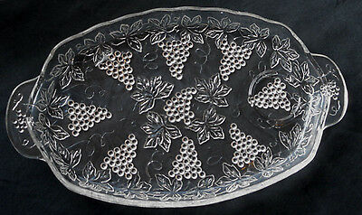 Six Vintage Glass Luncheon Snack Trays Grapevine Pattern Anchor Hocking
