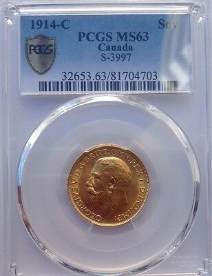 1914C (Ottawa Mint) George V Sovereign R3 Rated PCGS Graded MS63 UNC