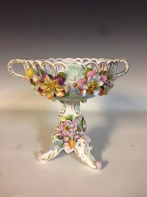 C.G. Schierholz Dresden Reticulated Compote Applied Flowers Ca.1865-1911