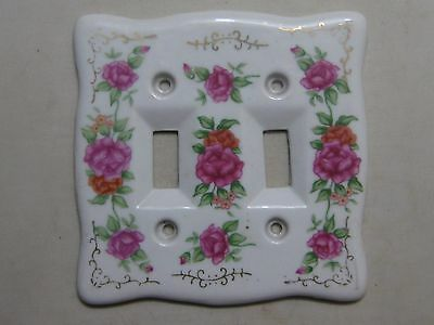 Vintage Porcelain Double Switch Plate Cover With Flowers ~ Floral