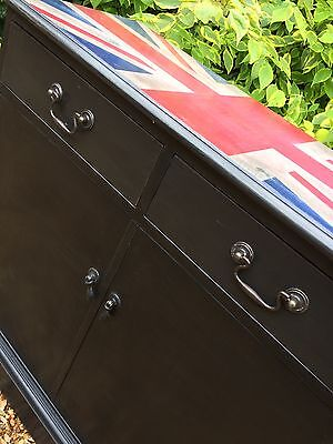 Vintage Funky Industrial Style Union Jack Painted Mahogany Cabinet Annie Sloan