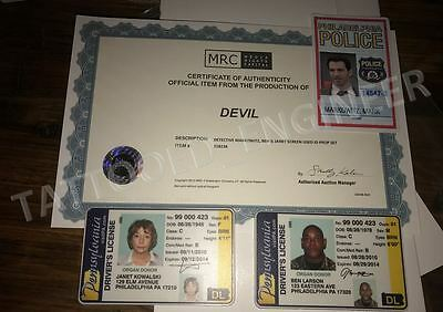 DEVIL (2011) Production Drivers License and Police ID set