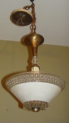 Antique Vintage 30's 40's Art Deco Glass Shade Chandelier Ceiling Light Fixture