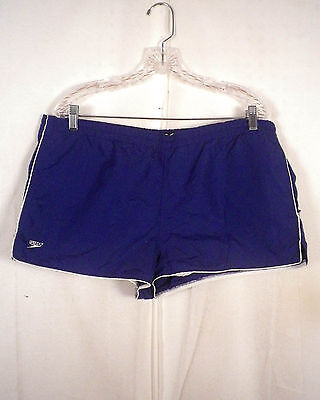 vtg 80s Speedo men's Navy Blue Swim Trunks Board Shorts USA made sz XL