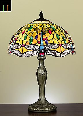 """16"""" Tiffany Dragonfly Style Stained Glass Table Lamp Light Home Leadlight Decor"""