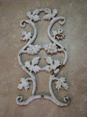 Antique CAST IRON ARCHITECTURAL SALVAGE Panel/Grate RUSTIC SHABBY CHIPPY Grapes