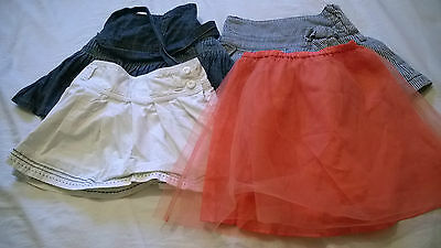 bundle 5-6 years skirts Mini Boden Next orange netted striped denim blue white