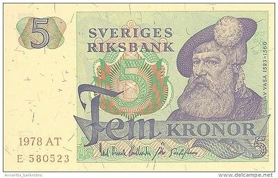 SWEDEN 5 KORONOR 1978 P-51d UNC YEAR IN PALE RED OFFSET [SE51d1978]