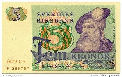 SWEDEN 5 KORONOR 1979 P-51d UNC YEAR IN PALE RED OFFSET [SE51d1979]