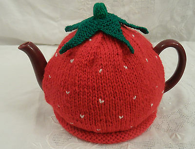 Hand Knitted In Aran With Wool Yarn Novelty Strawberry Tea Cosy Medium Size