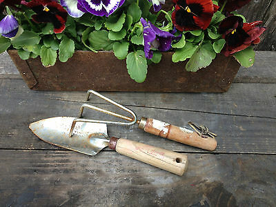 Vtg Hand Garden Tools Old Cultivator Rake & Shovel Rustic Farm Primitive Decor