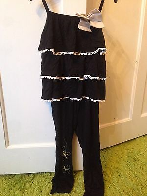 Brand New Mothercare Ruffle Top & Leggings/ Outfit. Black. Girls. Age 2-3 Years