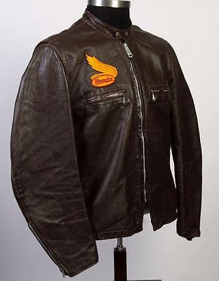 Vtg 60s Brooks Leather Motorcycle Cafe Racer Jacket L/XL Detroit Gold Label 44