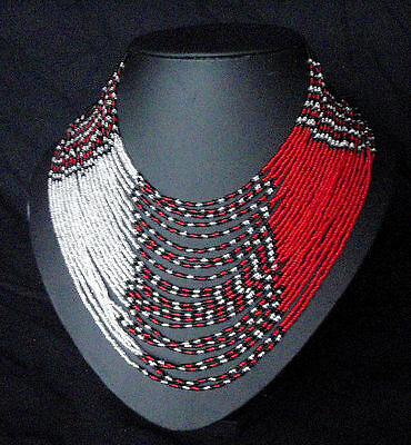 African wide multi strand bead necklace womens glamour statement red silver Zulu
