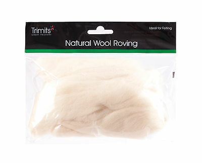 TRIMITS Natural 100% Wool Roving For Needle Felting 50g - WHITE