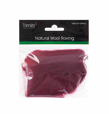 TRIMITS Natural 100% Wool Roving For Needle Felting 10g - WINE
