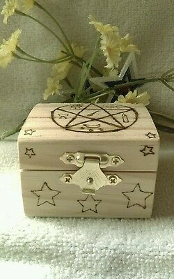 Hot Witch's Little Wooden Majickal Trinket Box Wicca Metaphysical Accessory