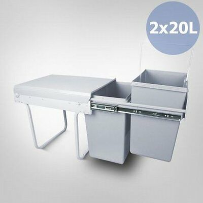 NEW 2x 20 Litre Plastic Pull Out Sliding Concealed Rubbish Garbage Kitchen Bin