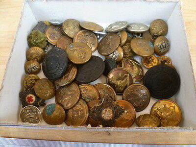 Vintage Old Large Lot Of Mixed Military, Fire, And Other Buttons, Badges (C96)