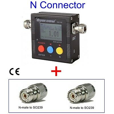 SURECOM SW-102 antenna SWR power meter + N to SO239 ADAPTOR for FT-1802 FT902