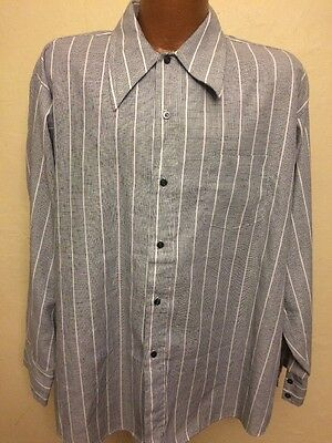 Kenwick Men's Long Sleeve Button Up Dress Shirt Vintage Made In USA Size 17 XL