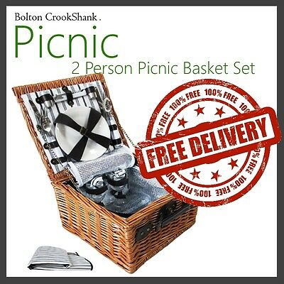 NEW 2016 2 Person Insulated Picnic Basket Hamper Set Outdoor Gift Cooler Blanket