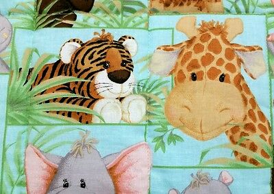 """NEW, HANDMADE, """"JUNGLE BABIES"""" 2SIDED, 35x 43in BABY/TODDLER  QUILT-GIFT IDEA"""