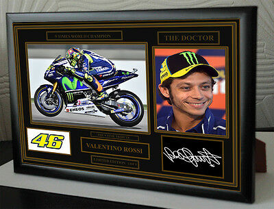 """Valentino Rossi   Black Framed  Signed """"Great Gift"""" LIMITED EDITION 9 ONLY"""