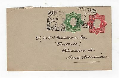 1918 ENVELOPE  KGV EMBOSSED OCTAGON - 1d RED & 1/2d GREEN ON GREY  ~  #200073