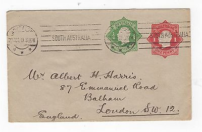 1918 ENVELOPE  2 KGV EMBOSSED 1d RED 1/2d GREEN OCTAGON ON GREY COVER~  #200074