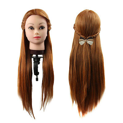 Practice Training Head Human Long Hairs Model Hairdressing Mannequin With Holder