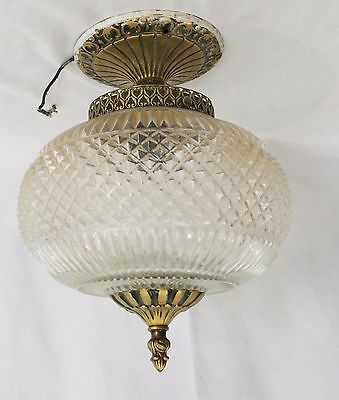 Vtg Ceiling light fixture pressed glass globe metal fixture with finial brass
