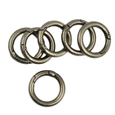 6pcs Metal Round Spring Snap Key ring Hooks Clips Outdoor Buckle