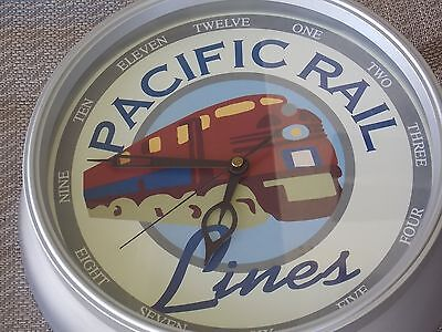 "Pacific Rail Lines Wall Clock 11"" Round, Railroad Decor, Battery Operated"