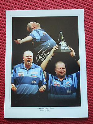 RAYMOND VAN BARNEVELD BARNEY SIGNED 12x16 PHOTO PREMIER LEAGUE CHAMPION - PROOF