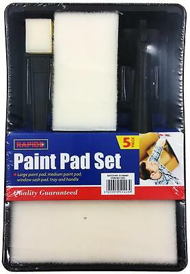 5 Pcs Foam Paint Painting Pad Handle Tray Set Kit DIY Decorating Decorators