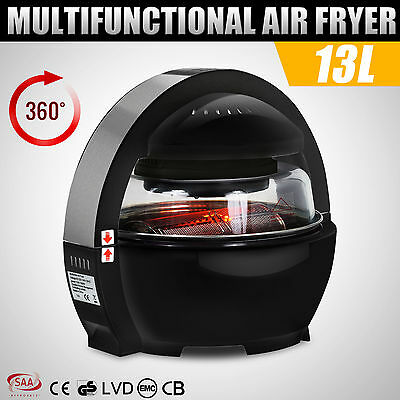1300W 13L Black Multifunctional LCD Air Fryer Healthy Cooker Low Fat Oil Free