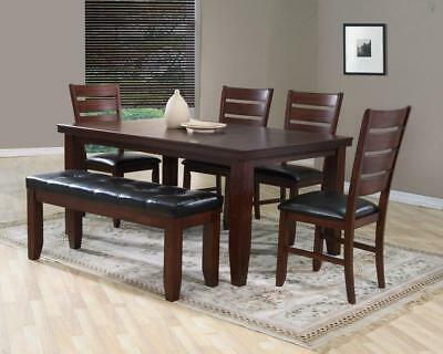 Bardstown 6 Piece Rustic Dining Room Furniture Set w Table, 4 Chairs & Bench
