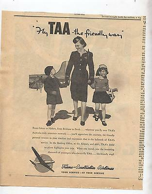 TAA Advertisement  from 1947 Newspaper The Friendly Way Trans Australia Airline