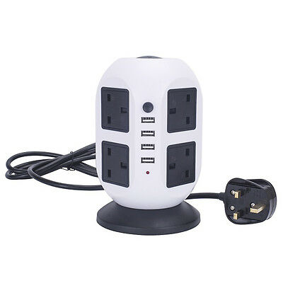 8 Way Vertical Tower Mains Power Strip Extension Socket with 4 USB Port Adapter