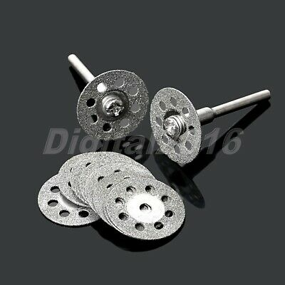 10pcs 20mm Diamond Disc Cut Off Rotary Wheel & 2x Mandrel Cutting Craft Tool Kit