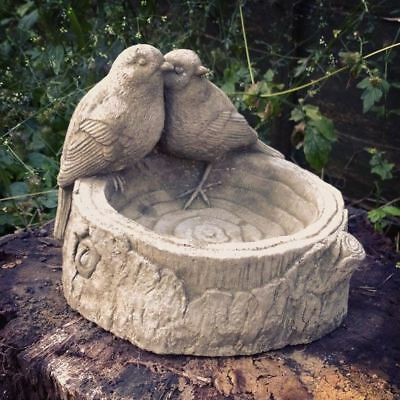 Bird on Log Feeder / Bath Garden Ornaments. Reconstituted stone