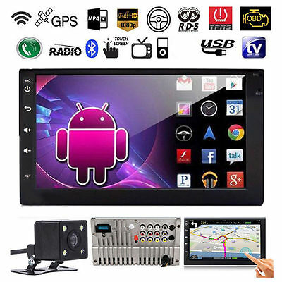 "Quad Core Android GPS Car Radio Stereo MP5 Player 7"" Double 2 DIN 3G WIFI Camera"
