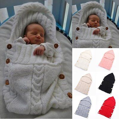 Newborn Baby Infant Knit Crochet Swaddle Wrap Swaddling Blanket Sleeping Bag New