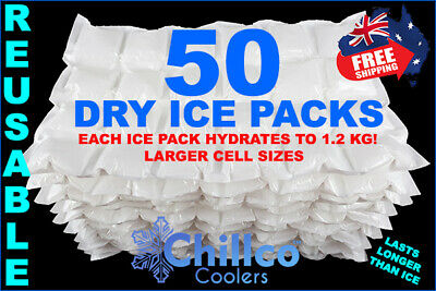 50 X Sheets Dry Gel Ice Packs - Reusable - Hydrates To 1.2 Kg - Dry Ice Packs